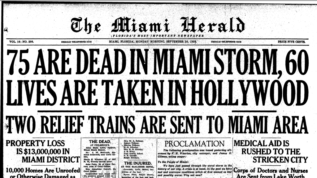 Front page of Miami Herald, September 20, 1926