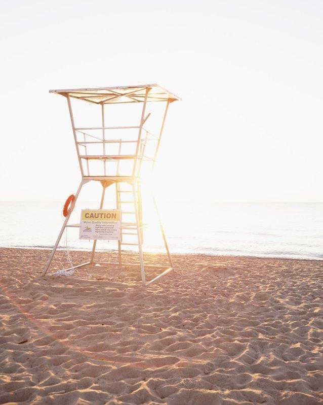 Evening Lifeguard Station, Grand Bend - Beach Scene