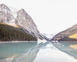 Reflecting at Lake Louise, Horizontal - Lake Louise Mountain Picture