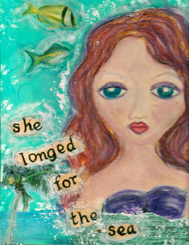 she longed for the sea. mixed media collage painting, fish, mermaid, tropical