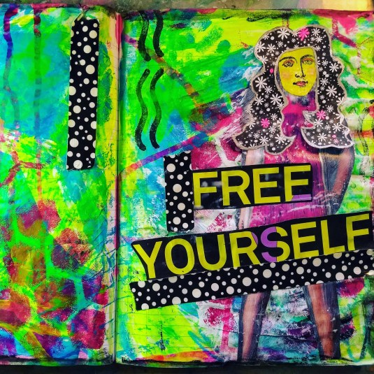 Free Yourself, painted collage art journal page.
