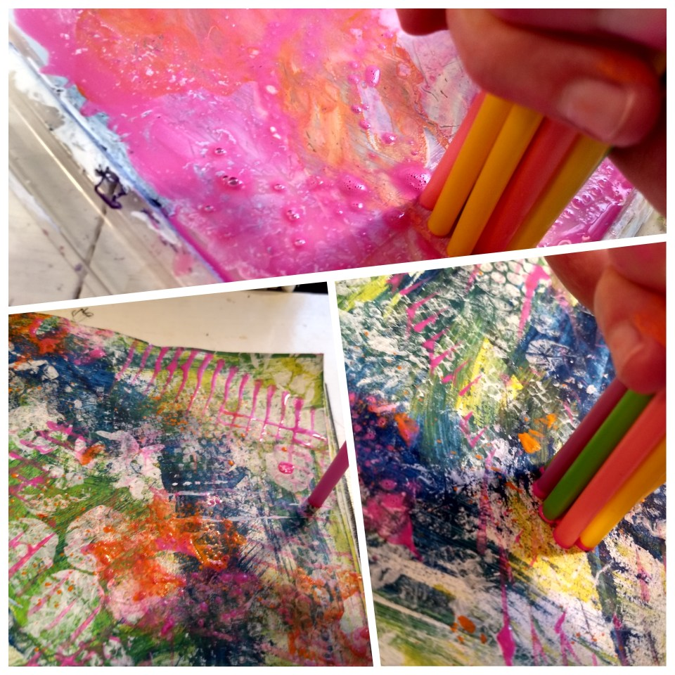 photo grid of using straws to make impressions with paint in art journal.