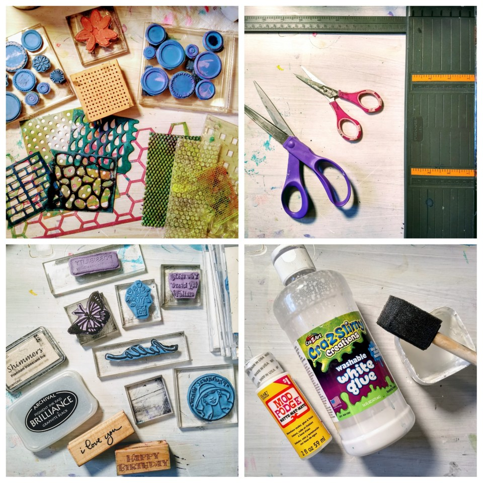 What You Need to Get Started, Cardmaking with gel prints and stamps, rubber stamps, stencils, ink, scissors, stamp pad, glue, mod podge, foam brush.