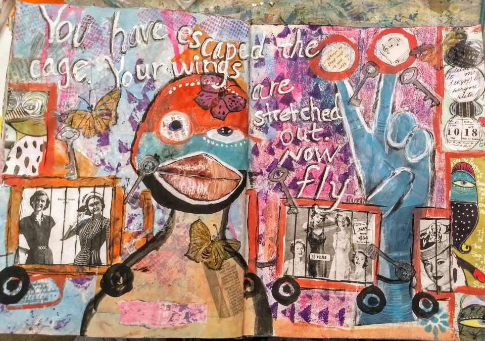 You have escaped your cage...art journal page layout. Collage, mixed media, odd images