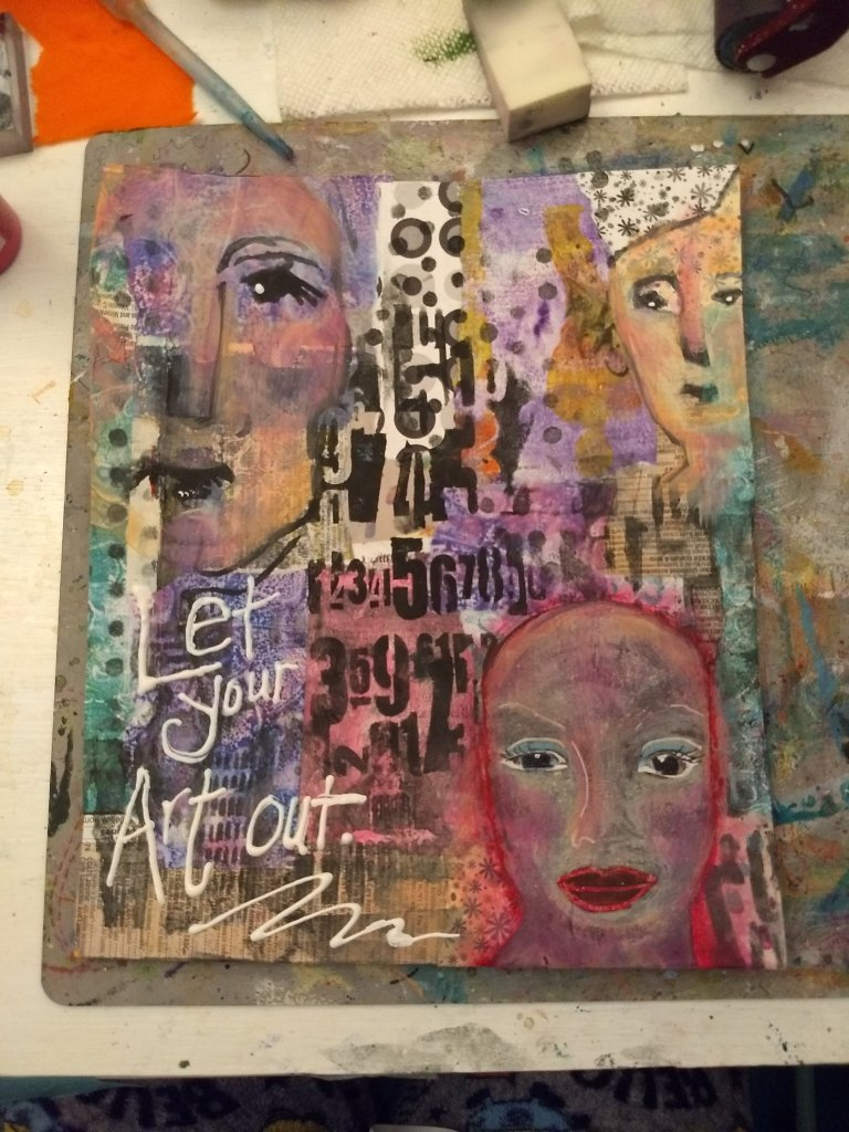 Let Your Art Out art journal page; faces collage, mixed media, dina wakely face stamps, stnecils