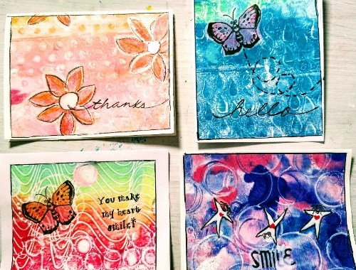 Cardmaking with Gel Prints and Stamps Project Samples