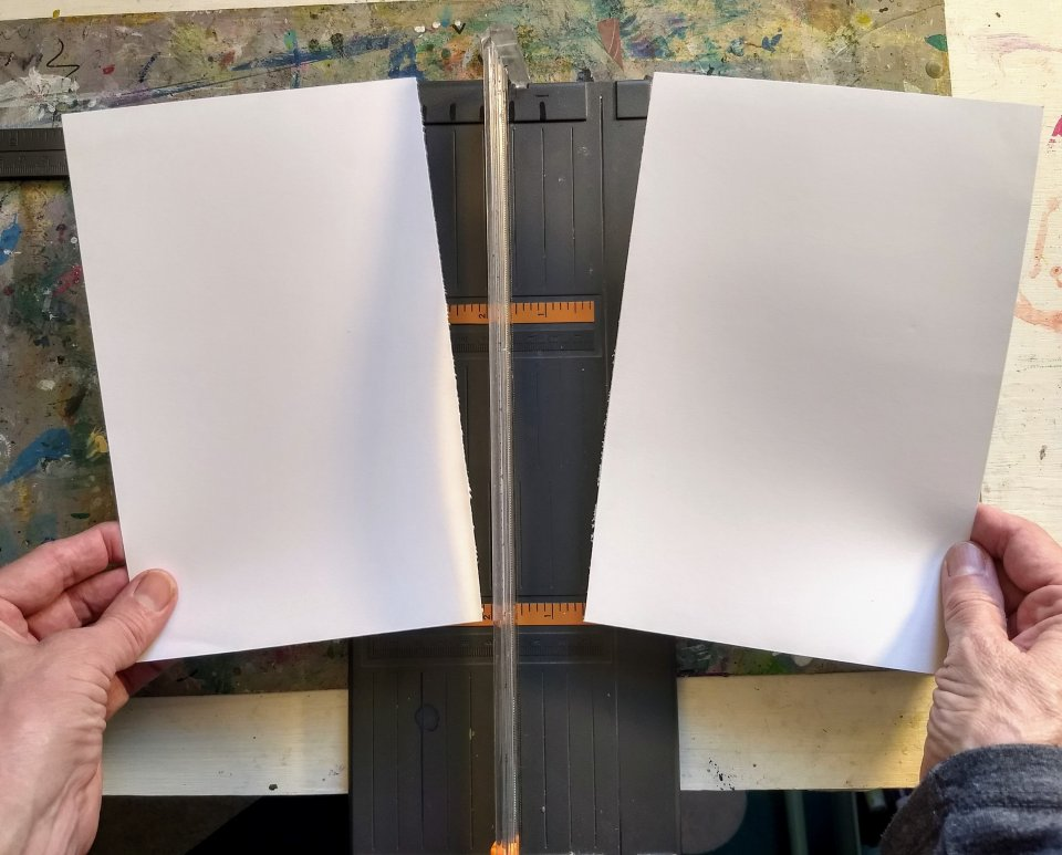 Sheet of white cardstock cut in tow to make 2 cards. Cardmaking using gel prints and stamps.