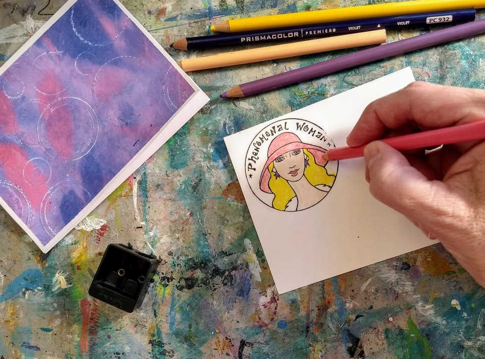 Coloring stamped image using colored pencils, Cardmaking using gel prints and stamps.