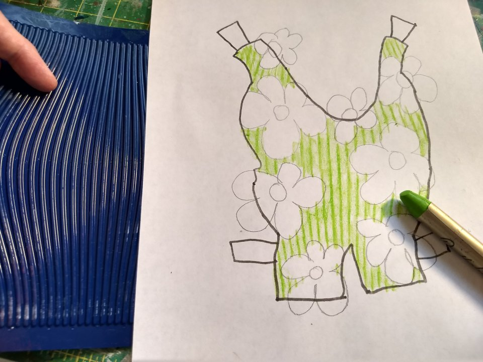 Coloring Flowered Suit for Toad, green using texture plate.