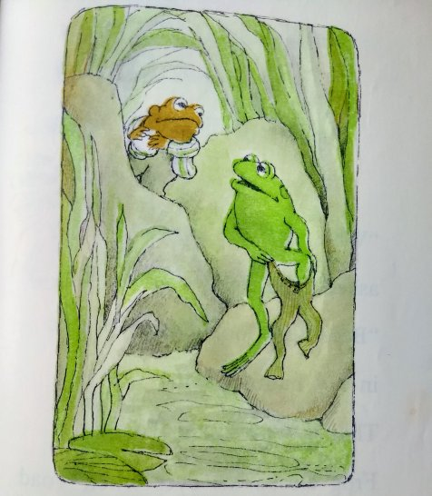 Frog and Toad undressing for a swim. Frog and Toad are Friends, A Swim. Story and Craft.