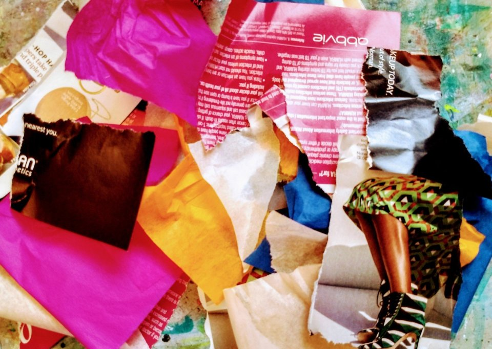 ripped up colored paper, tissue paper, magazine photo scraps, Art Journaling for Self Care during times of uncertainty