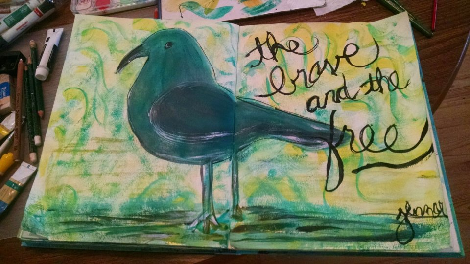 the brave and the free, painted bird art journal page,