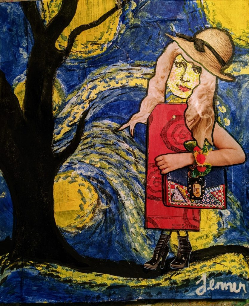 Tag Lady, collage painting background, van gogh inspired, starry night