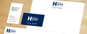 Image of Hansen's letterhead, business card and envelope.