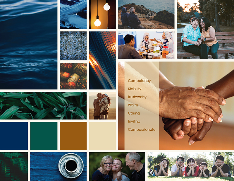 A mood board collection of images and colors (blues, greens browns).