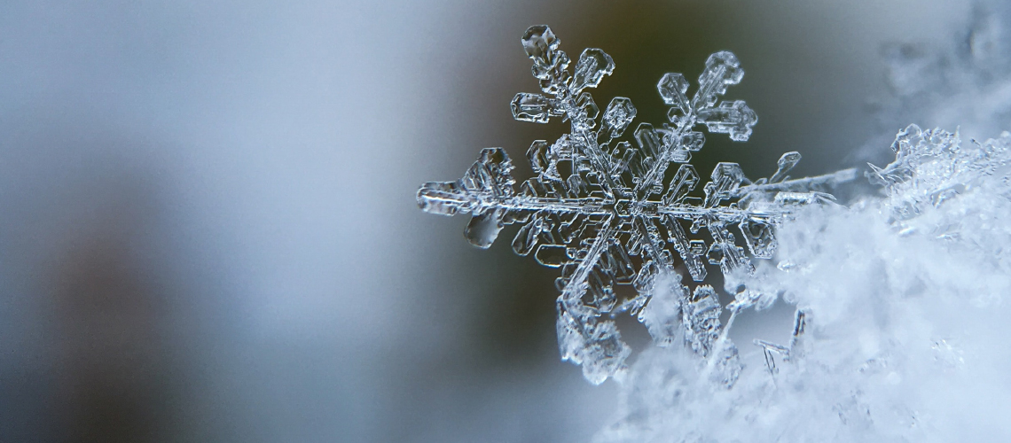 Closeup of a snowflake over a blurred background