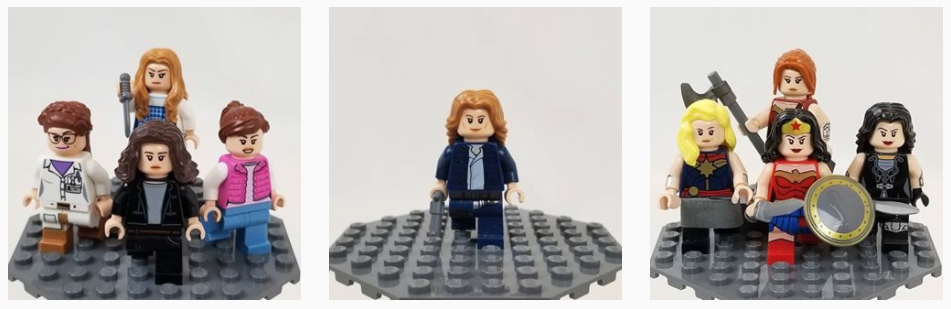 Three images from Instagram featuring nine different minifigures for Women's History Month.