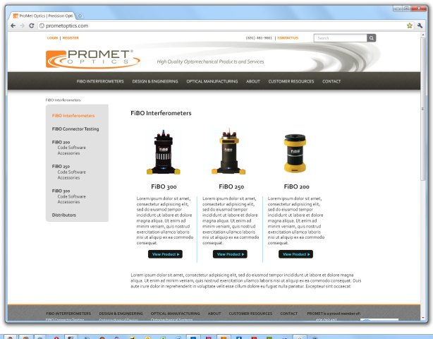 Promet website - products