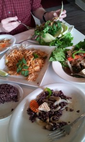 A typical meal at our favorite Thai place, Lum Ka Naad