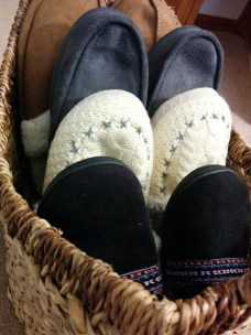 "In our quest for hygge, I create ""the slipper basket"" for guests."