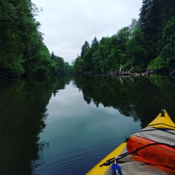 Ruth and I conquer the river in her kayaks!