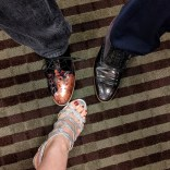 Fancy shoes at World Fantasy! These belong to me, Michael, and Caroline. (You have to match us to our shoes yourselves.)