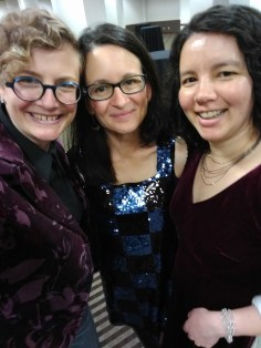 Me, Tina, and Caroline dressed in our finery at World Fantasy.