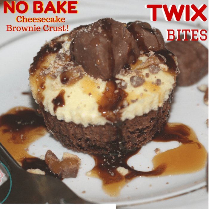 No Bake TWIX Cheesecake Bites with Brownie Crust Recipe http://jennsblahblahblog.com