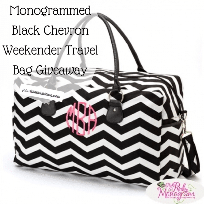 Monogrammed Black Chevron Weekender Travel Bag Giveaway