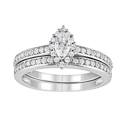 Wedding Rings Sets White Gold 76 Simple Marquise Cut IGL Certified