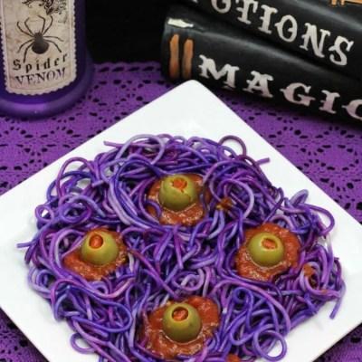 Purple Four Eyed Monster Spaghetti Halloween Recipe