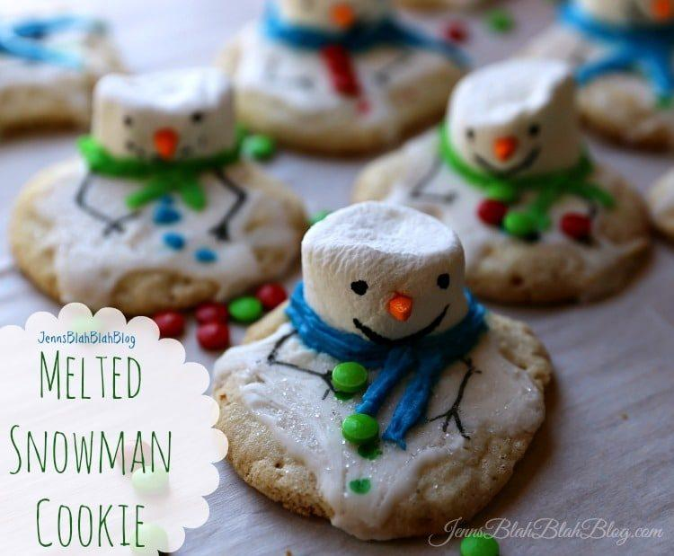 Melting Snowman Chewy Sugar Christmas Cookie Recipe Yummy!