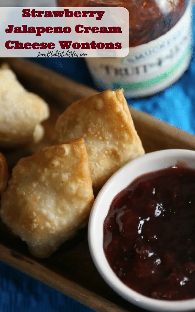 Strawberry Jalapeno Cream Cheese Wontons with Jelly for Dipping