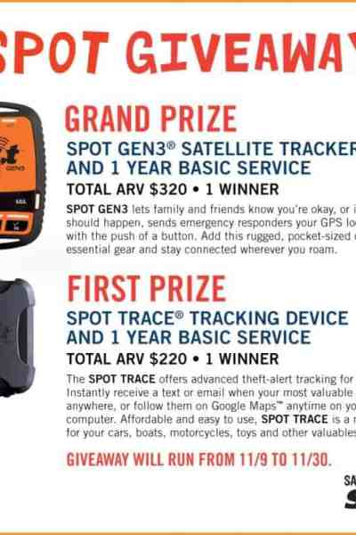 Track You and Your Stuff with SPOT Giveaway – 2 Winners