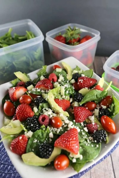Berry Avocado Spinach Salad with Balsamic Vinaigrette Dressing