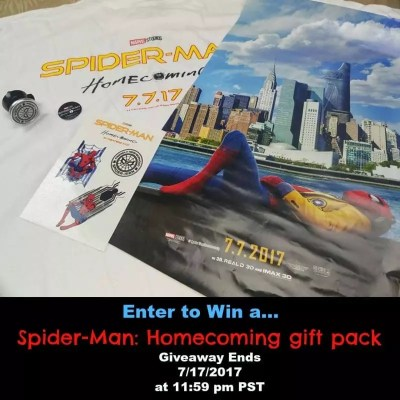Enter to Win 1 of 10 Spider-Man: Homecoming gift Packs
