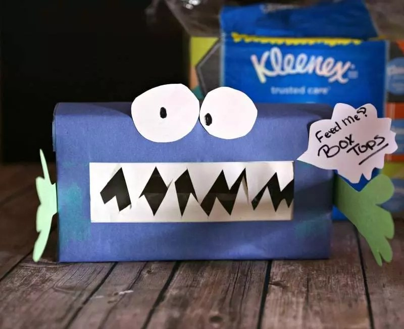 DIY Monster in the Cabinet Box Tops Collection Box
