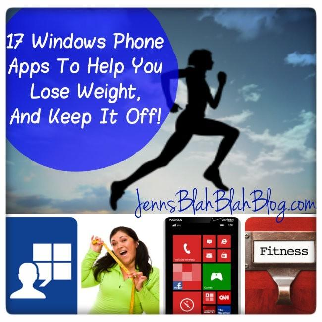 women running, phone under her, app social logo, and cloud that says Windows Phone Apps To Help You Lose Weight, And Keep It Off!