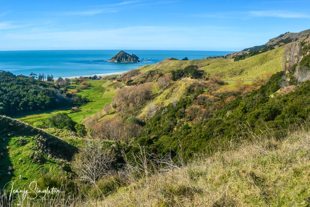 View driving into Anaura Bay, East Cape, New Zealand