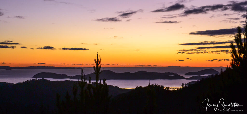 Sunset coming down from the Castle Rock Track, Coromandel, New Zealand