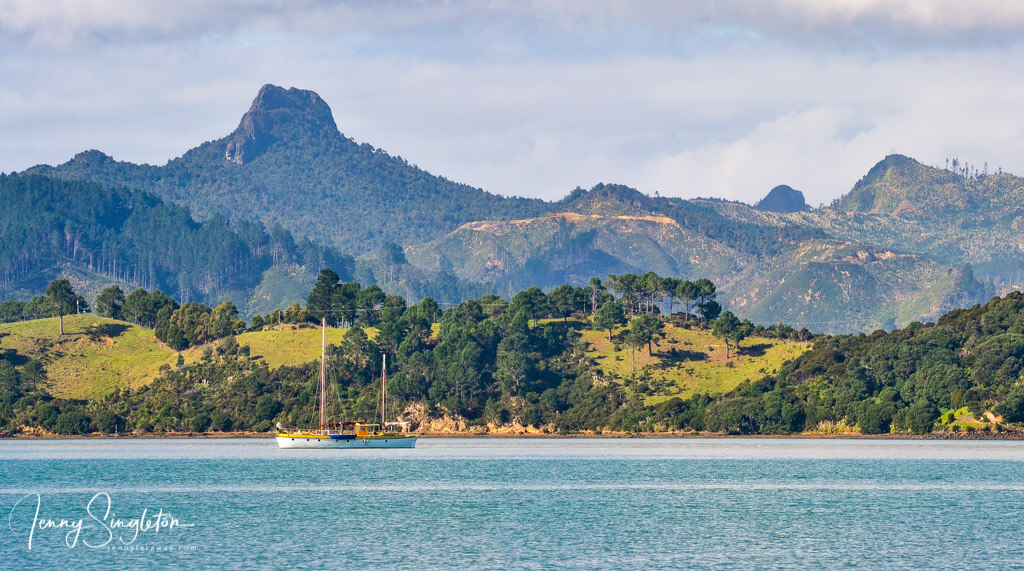 View of Castle Rock from Wyuna Bay, Coromandel, New Zealand