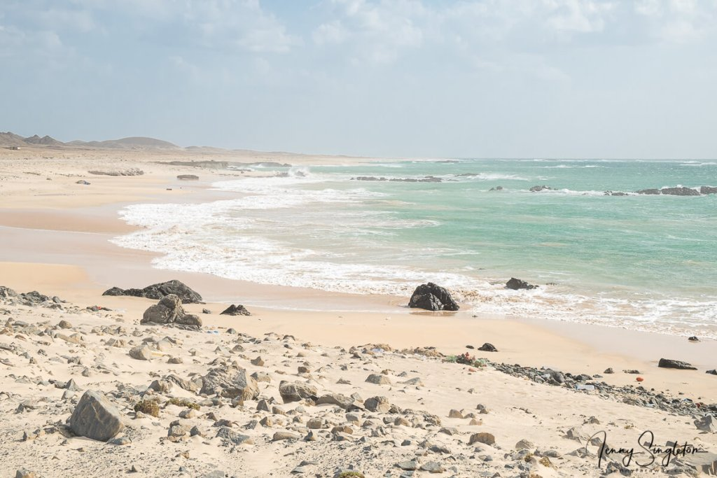 A smooth sandy beach with green water on Masirah Island, Oman