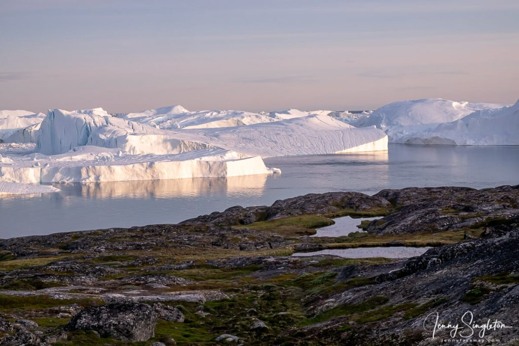 A view of land, small lakes, and giant icebergs from the Yellow Trail in Ilulissat.