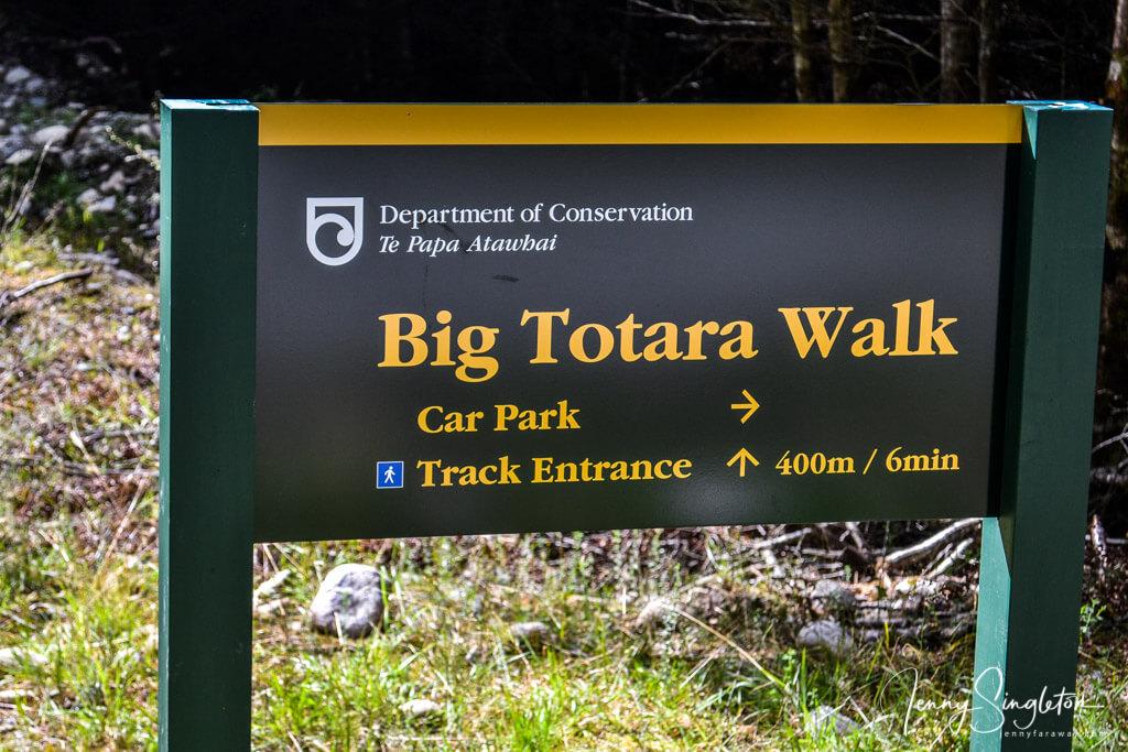 A sign for the Big Totara Walk, Southland, New Zealand