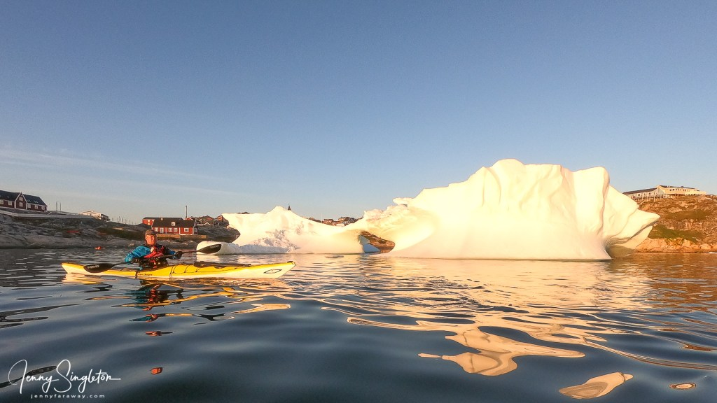 My kayak guide stops me from getting any closer to an iceberg in Disko Bay, Greenland