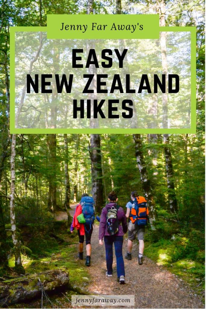 Pinterest Graphic showing hikers on the Kepler Track, Fiordland, New Zealand
