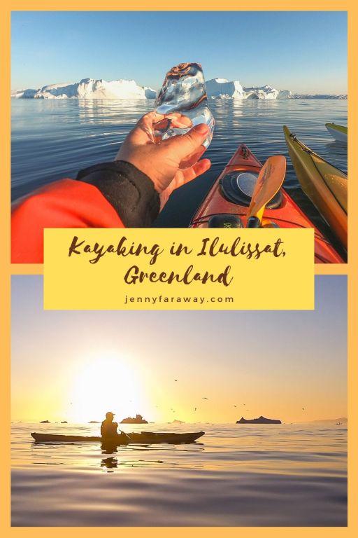 Pinterest Graphic showing kayaking in Greenland