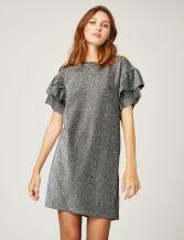 robe droite avec volants argentée