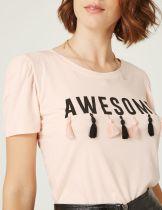 tee-shirt à pompons noir