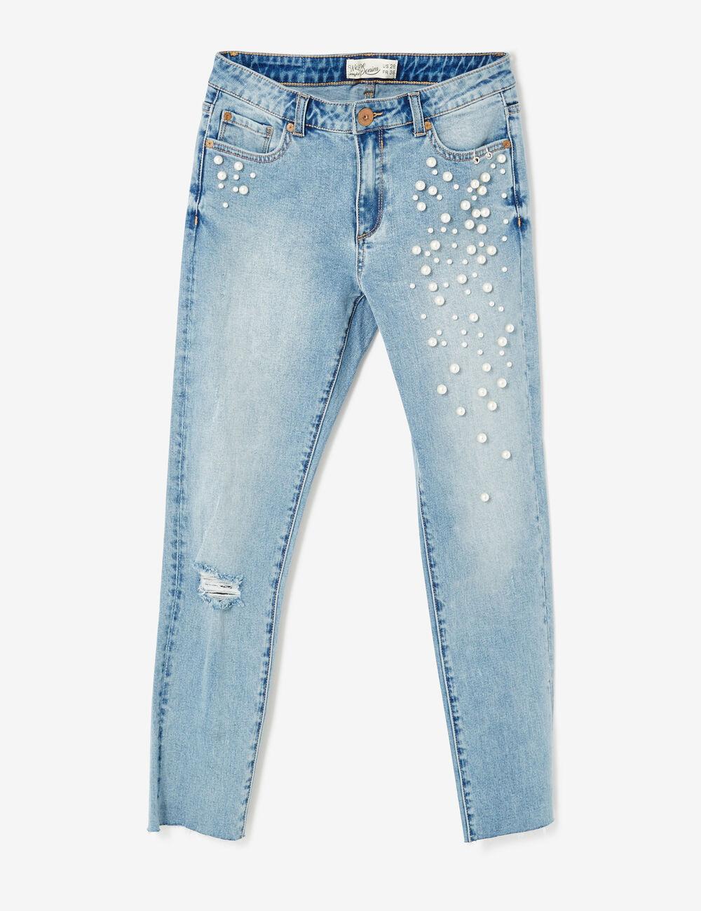jean skinny avec perles bleu clair